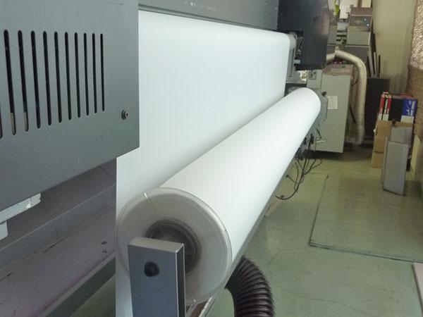 のぼりを印刷する機械の裏側