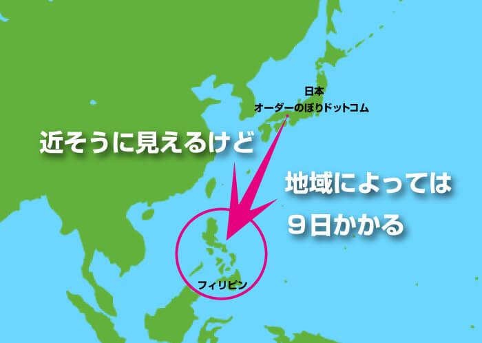 日本からフィリピンまでの日数